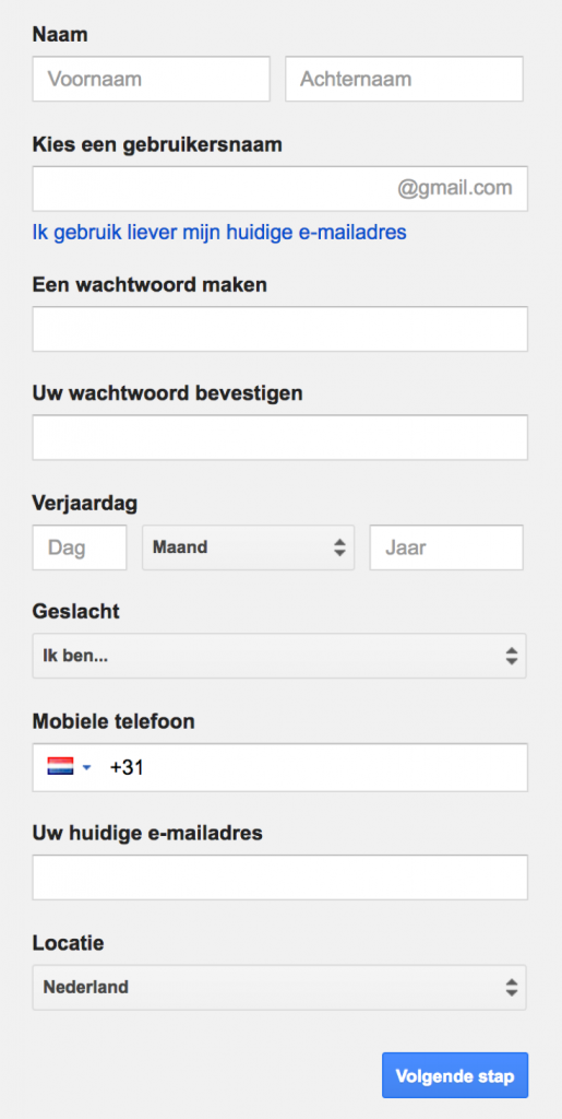google-account-aanmaken-stap2
